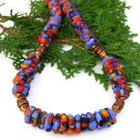 Colorful Krobos Recycled Glass Necklace, Copper Handmade Ethnic Boho Jewelry for Women