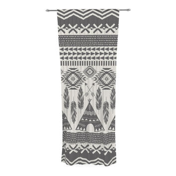 "Amanda Lane ""Native Roots"" Brown Gray Decorative Sheer Curtain"