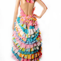 Carnival Princess Sundress in Bright vintage colorful fabrics Upcycle dress Ruffles Flower Child Costume Gothic Lolita Showgirl