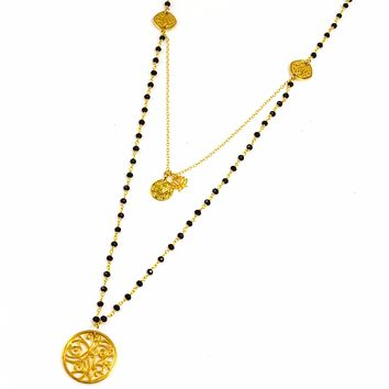 Black Onyx and Gold Portale Necklace with Yoga Charms