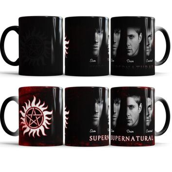 Supernatural mug,Sam,Dean, Castiel heat changing color Ceramic Tea heat sensitive mugen transforming magic morphing coffee mug