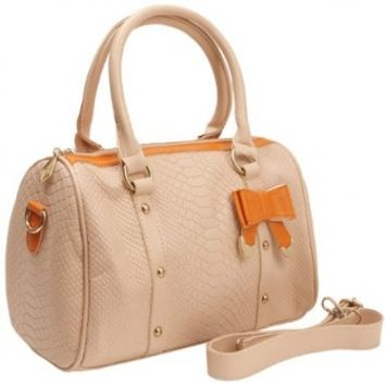 MG Collection Tilly Crocodile BoDoctor Shoulder Bag, Beige, One Size