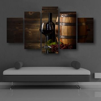 Red wine barrel glasses Canvas Print room decor framed unframed