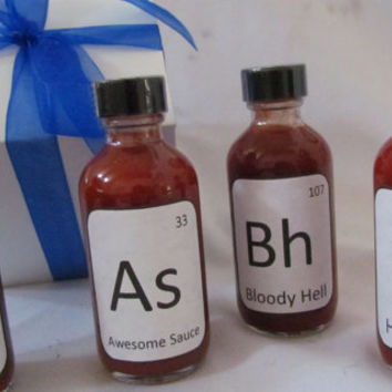 Father's Day Breaking Bad Hot Sauces Gourmet Set with Periodic Table gift box ~ Husband Chemistry graduate professor teacher, Geek, Nerd
