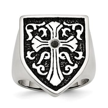 Stainless Steel Cross With Black Diamond Antiqued Shield Ring