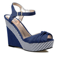 Navy Blue & White Striped Peep Toe Clemence Canvas Wedges