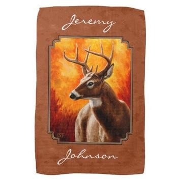 Whitetail Deer Autumn Copper Hand Towels