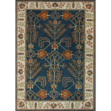 Jaipur Rugs Classic Arts And Crafts Pattern Blue/Ivory Wool Area Rug PM82 (Rectangle)