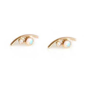 14kt Gold Diamond & Opal Eye Studs