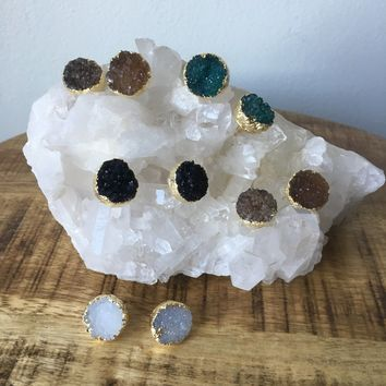 Druzy Studs Earrings- 22k Gold Plated- Circle Geode, Quartz, Agate Stud
