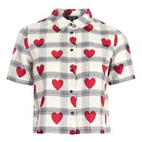 Crop Heart Check Shirt - Tops - Clothing