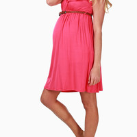 Pink Belted Maternity Dress