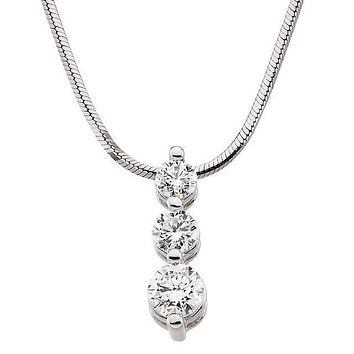 3 Stone Tiered Drop Pendant and Necklace