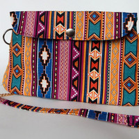 Tribal Print Clutch Purse , Chain Strap , Indian Print Bag , Boho Handbag , Bohemian , Teal , Ikat Inspired , Exentricity