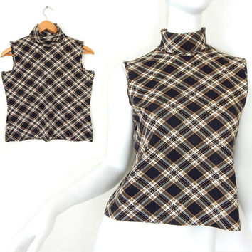 Vintage 90s Plaid Sleeveless Turtleneck Top - Size Small - Women's Black and Tan Stretch Preppy Clueless High Neck 90s Shirt - Deadstock