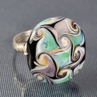 Swirls Lampwork Glass Bead- Silver Wire Wrap Ring | Twist21 - Jewelry on ArtFire