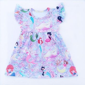 Baby Girl Summer Dress Clothing Girl Mermaide Dress Children Girl Princess printed Dress Milk Silk Kids Boutique Summer Clothing