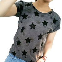 Star Printed Vintage with Holes Summer Tshirt