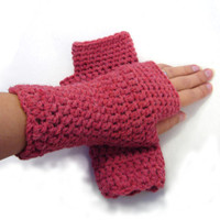Tomato red crochet armwarmers, fingerless mittens, fingerless gloves from alpaca, wool and acrylic blend yarn