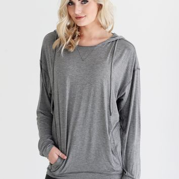 Dark Heather Gray DLMN Seamed Hoodie