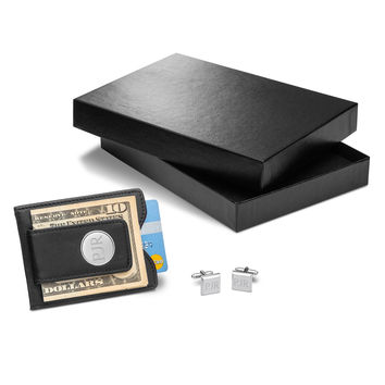 Personalized Black Leather Wallet & Modern Square Cufflinks Gift Set