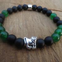 Green Jungle Mens Bracelet, Men Lion Onyx Jade Bracelet, Gemstone Beaded Bracelet, Mens Stretch Bracelet, Free Shipping