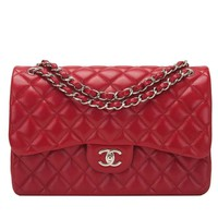 Chanel Red Quilted Caviar Jumbo Classic Double Flap Bag