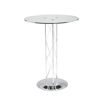"Trave 36"" Round Bar Table in Clear Tempered Glass with Chrome Column and Chrome Base"