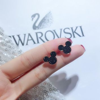 DCCK2 S106 Swarovski Disney Mickey Mouse Cute Female Stud Earrings