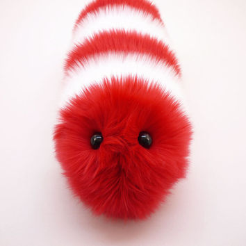 Christmas Caterpillar Red and White Snuggle Worm Plush Animal Stuffed Holiday Toy - 6x18 Inches Medium Size