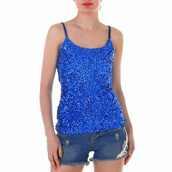 Newest   Tanks & Camis Top Sequin Sparkle Glitter Vest T Shirt Camisole Ladies Slim Crop Tops Singlet Shirt