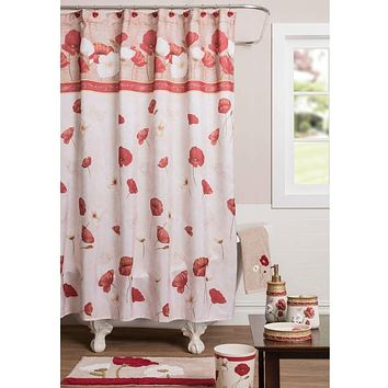 Floral Poppies Red Pink Shower Curtain - Machine Wash Polyester Fabric