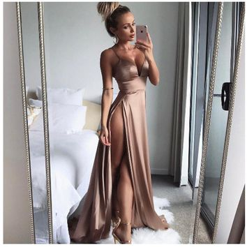 Sexy Satin Double Split Maxi Dress
