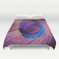 Purple Peacock Feather Duvet Cover by Erika Kaisersot