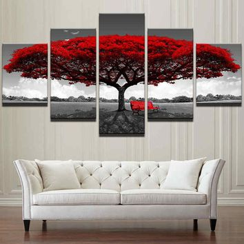5PCS Home Decor Creative Canvas Print Modern Red Tree Scenery Bench No Frame Oil Painting Wall Art Modern Red Tree Scenery Beach