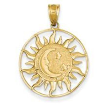 Polished Sun with Moon & Star Charm in 14k Gold