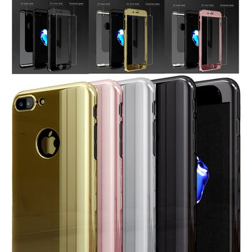 Roybens For iPhone 6 6S Plus 7 7 Plus Case Luxury Hard PC Plating Mirror Coverage 360 Degree Full Protection Cover For iPhone 6S