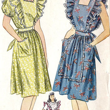1940s Misses Dress or Pinafore Vintage Sewing Pattern with Fitted Midriff and Ruffles, Simplicity 4632  Bust 34""