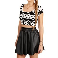 Black/Ivory Short Sleeve Cropped Top