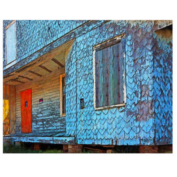 Abandoned Blue Shingled House Bay St. Louis MS - No Trespassing Sign Glicee Print 8x10 16x20 Korpita