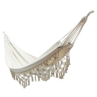 New White 240x150cm Hanging Cotton Rope Macrame Hammock Chairs Swing Outdoor Home Garden Outdoor Leisure Hanging Bed Hammock