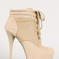 Woven Panel Lace Up Platform Ankle Bootie