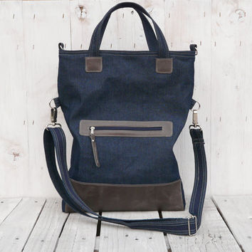 canvas bag  tote bag leather bag foldover bag crossbody bag blue gray two tone tote Gift for her