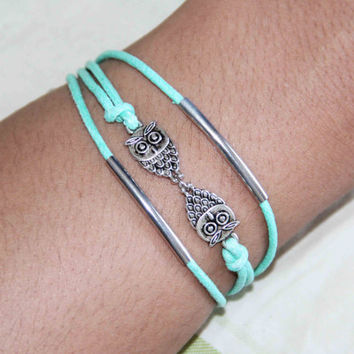 mint green cotton wax cord owls tubes bracelet anklet handmade bracialli summer trending simple fashion friendship graduation gifts