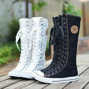 PUNK ROCK Canvas Boot Women Gril Sneaker Flat Tall Lace Up Knee High Zip Shoes = 19465
