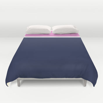 Navy/White/Pink Stripe Duvet Cover by Bethany Mallick