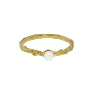 Cultured Pearl Center Branch Thorn Band Ring