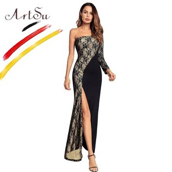 ArtSu Women Club Dresses 2018 New Long Sleeve One Shoulder Black Maxi Dress High Split Wrap Sexy Patchwork Lace Mermaid Dresses