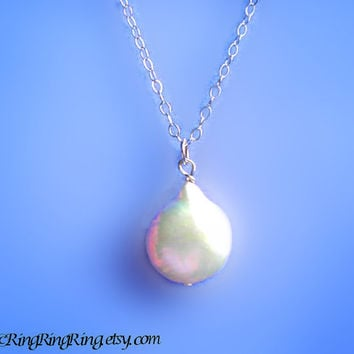 White Coin Genuine Pearl on 925 Sterling silver necklace.