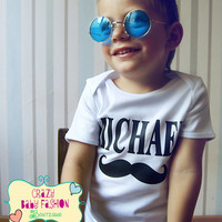 Trendy baby clothes, mustache baby clothes, mustache baby bodysuit name personalized, custom baby bodysuit with name,